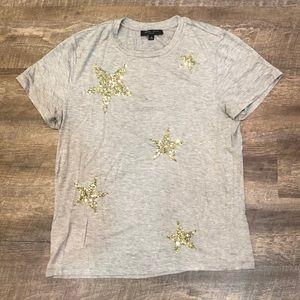 Gray sequin star T-shirt
